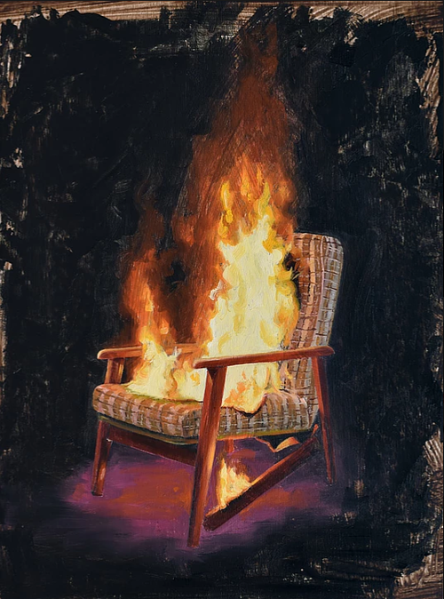 A painting of a chair on fire