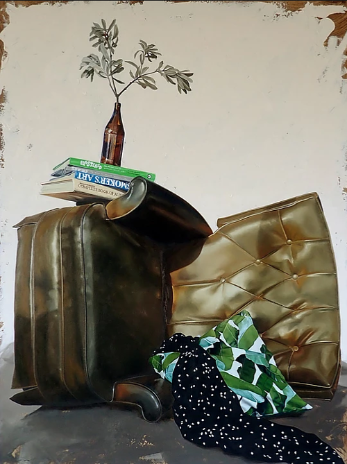 A painting of a recliner turned on its side