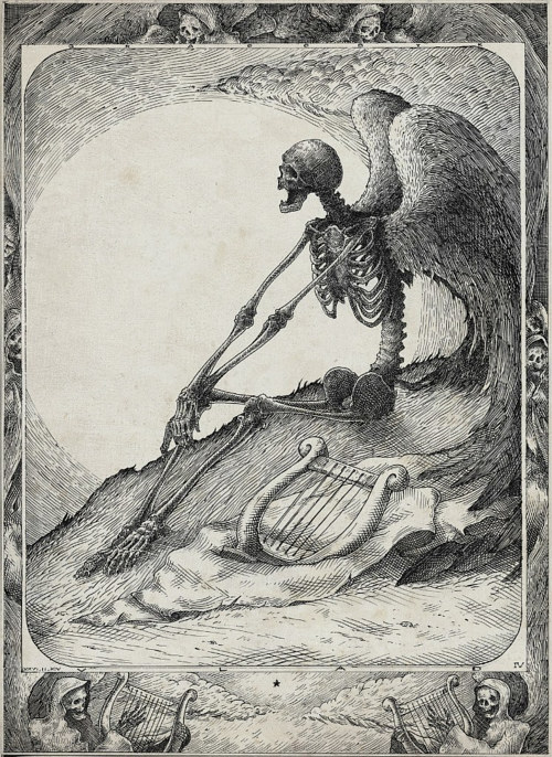 A drawing of a skeleton with wings