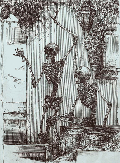 A drawing of two drunk skeletons