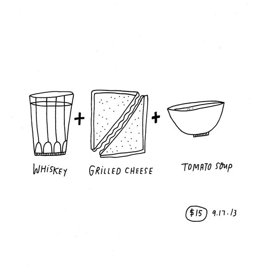 Drawing of a whiskey glass, grilled cheese sandwitch and a bowl of tomato soup