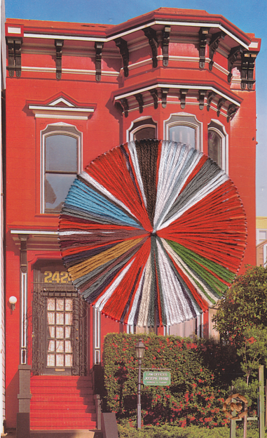 A photo of a house in San Franciso with embroidery thread