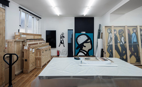 A photo of Julian Opie's redesigned studio
