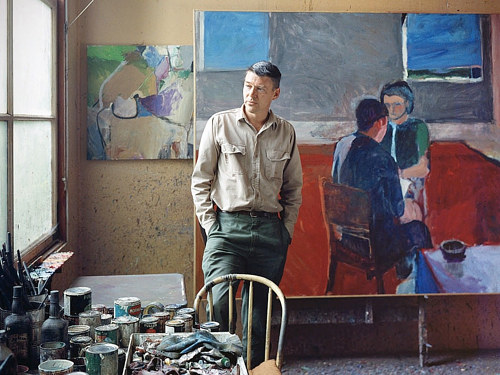 Painter Richard Diebenkorn in his art studio