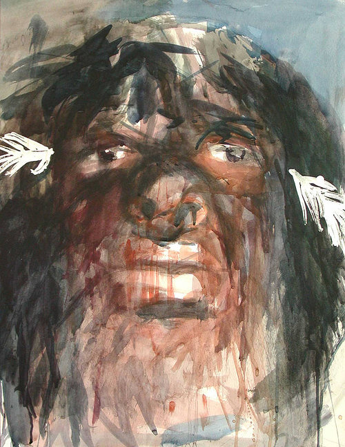 Painting with expressive brush strokes of man head with dark features