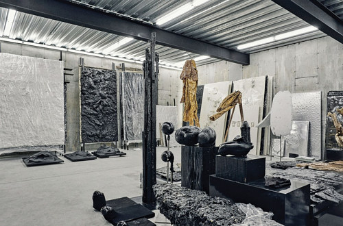 Helmut Lang's art studio, pictured with works in progress