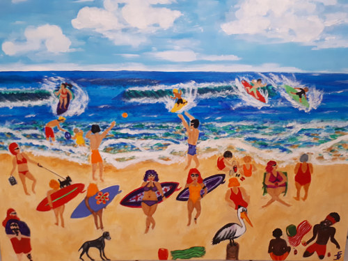 A painting of a beach scene with numerous figures