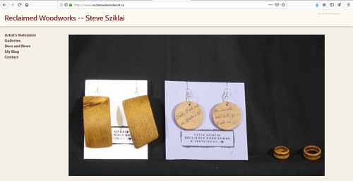 A screen capture of Steve Sziklai's woodwork art website