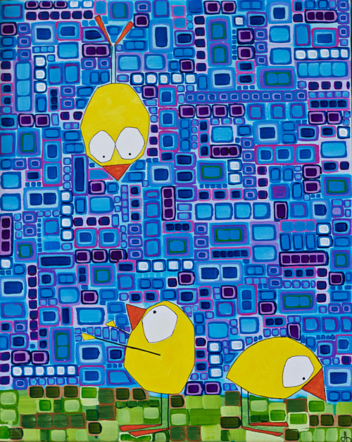 A painting of yellow bird figures on a geometric background