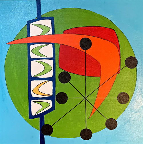 An abstract geometric painting with a mid-century modern aesthetic