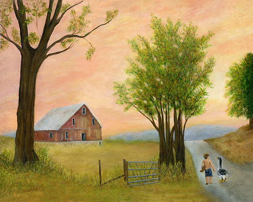 A painting of a farmhouse at sunset