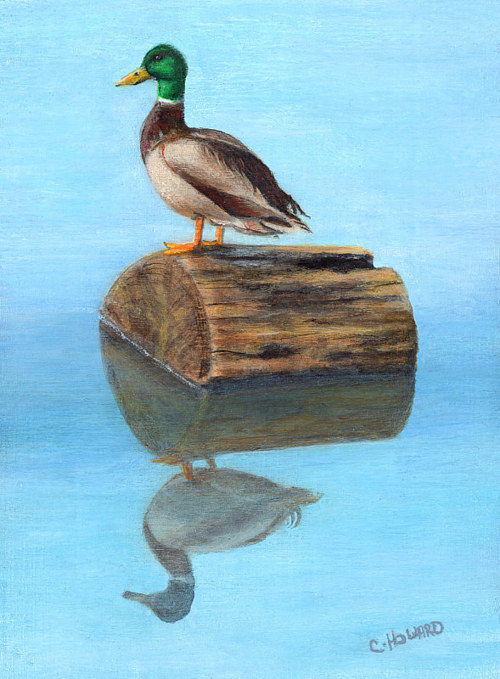A painting of a duck sitting on a floating log