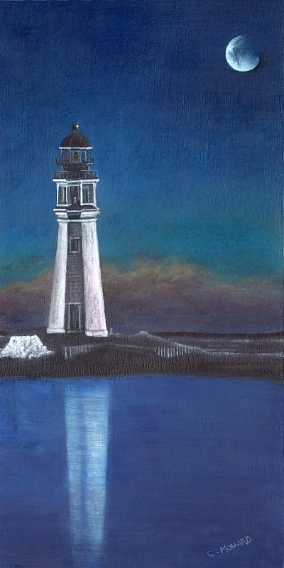 A painting of a lighthouse at night