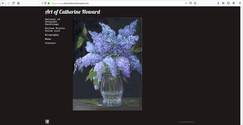 The front page of Catherine Howard's art portfolio website
