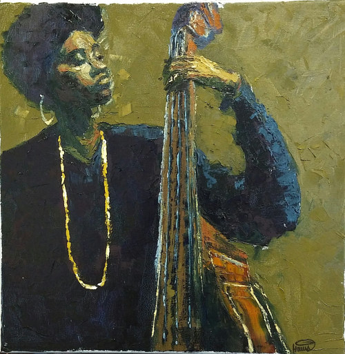 A painting of a woman playing the standing bass