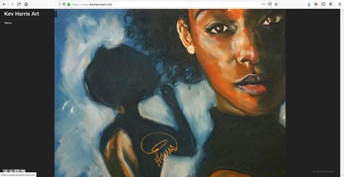 A screen capture of Kev Harris' art portfolio website