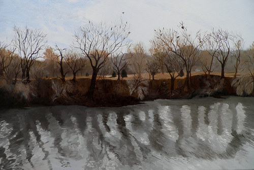 A painting of a landscape with leafless trees
