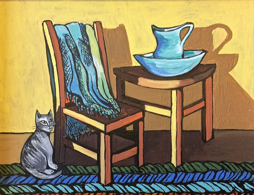 A stylized painting of a chair and a table