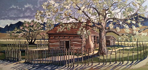 A painting of a house under a flowering tree