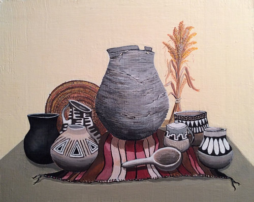 An acrylic painting of antique pots