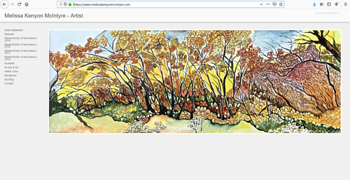 The front page of Melissa Kenyon McIntyre's art website