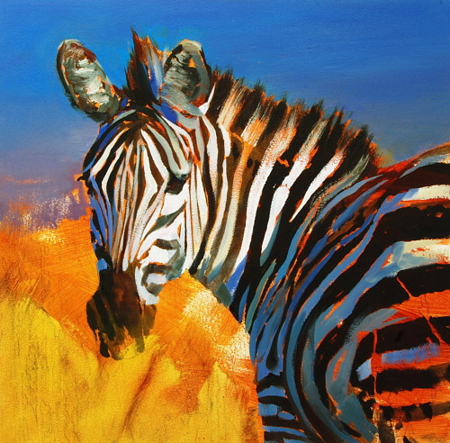 A vibrant oil painting of a zebra