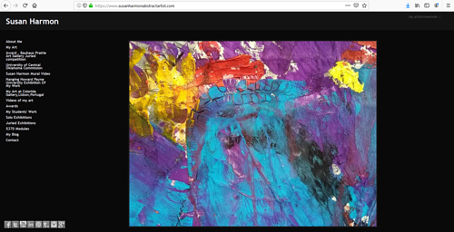 A screen capture of Susan Harmon's art portfolio website