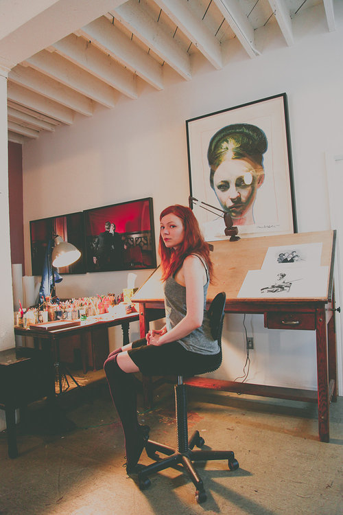 Mercedes Helnwein in her art studio