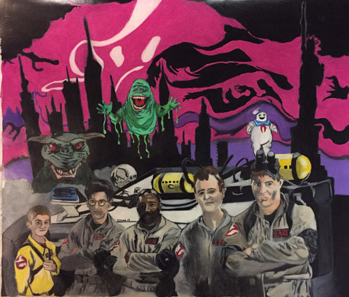 A painting of the Ghostbusters