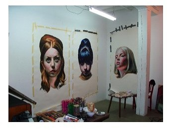 Mercedes Helnwein's painting on the wall of her studio