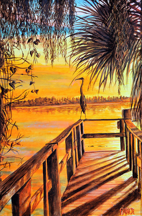 A painting of a heron standing on a pier at sunset