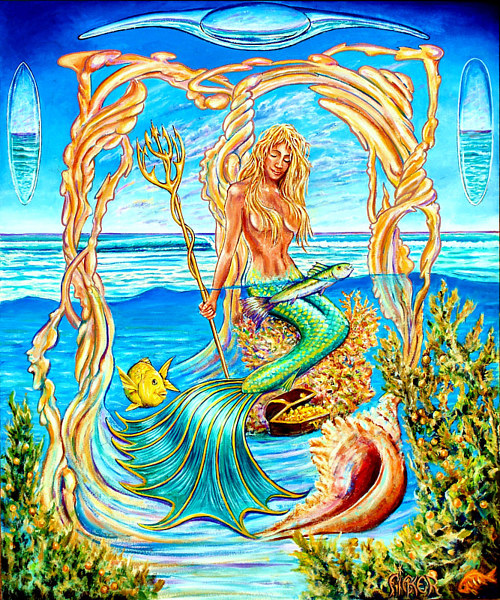 A painting of a mermaid on a beach with various symbolic imagery