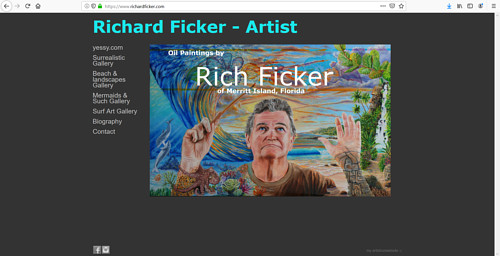 The front page of Richard Ficker's art portfolio website