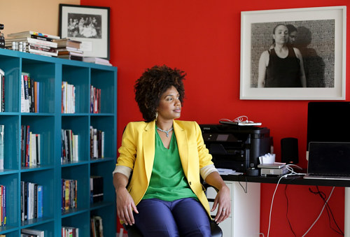 A photo of LaToya Ruby Frazier in her art studio