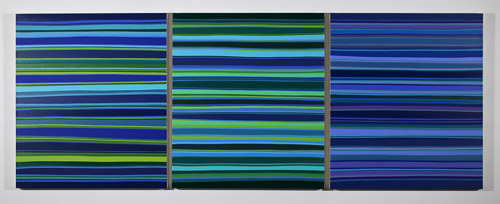A triptych of three paintings striped blue and green