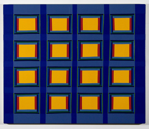 "An abstract painting with a grid of yellow ""windows"""