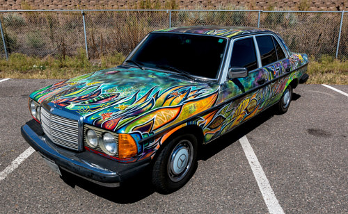 A custom painted Mercedes car