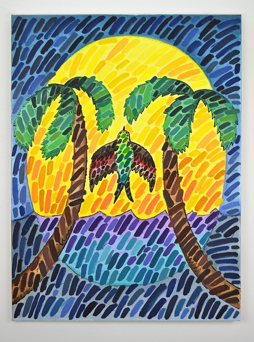 A painting of a bird between two palm trees
