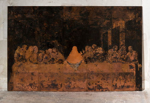 A painting made by corroding copper with sulphur