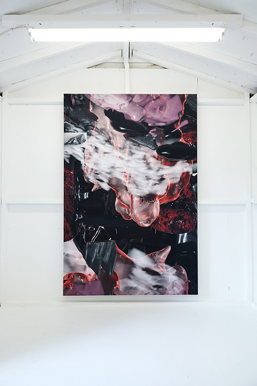 A wall-hanging tapestry produced with digital art