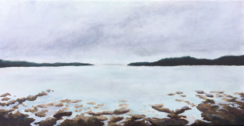 An acrylic painting of an overcast beach