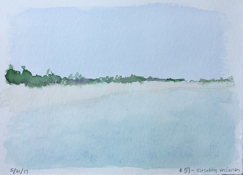 A painting of a sunny beach in subdued watercolour