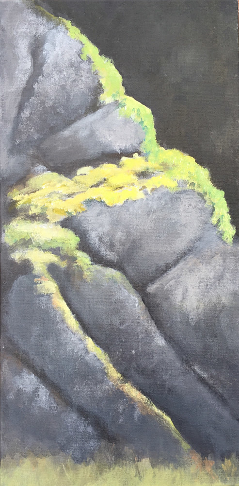An acrylic painting of mossy rocks