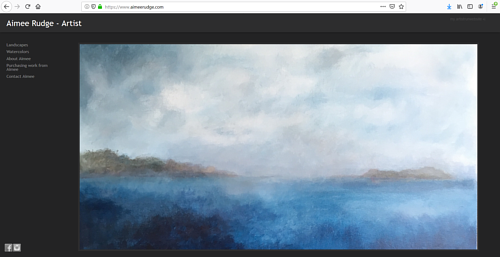 The front page of Aimee Rudge's art portfolio website