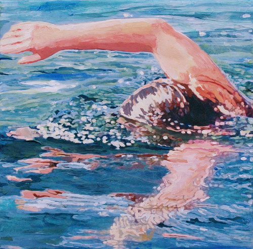 An acrylic painting of a swimmer