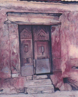 A painting of a doorway in Mexico