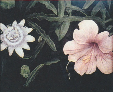 A painting of a passion flower and a hibiscus flower