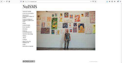 A screen capture of Jeffrey Newman's art portfolio website