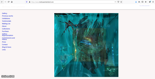 A screen capture of Melissa Ann Lambert's art portfolio website