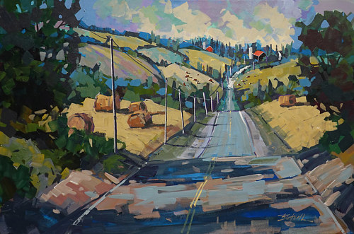 A painting of a country road in the sunshine